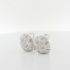 Graceful Diamond Estate Cut-Out Design 14K White Gold Omega Backings Earrings