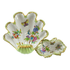 Herend Hungary Queen Victoria Butterfly Flowers Scalloped Shell Dish Decor 2 PCS