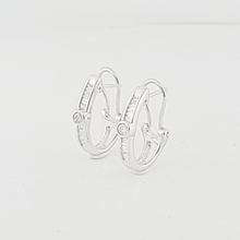 Stunning Baguette & Round Diamond 14K White Gold Ladies Earrings W/ Omega Locks