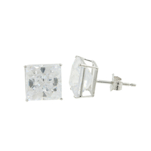 Estate 14K White Gold Princess Cut Colorless Cubic Zirconia Push Back Earrings