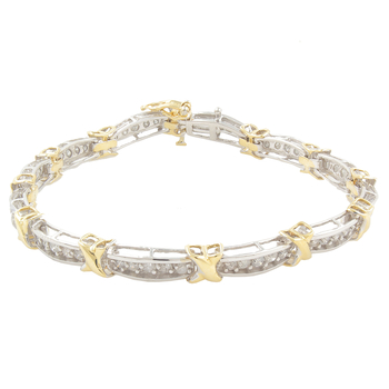 Ladies Classic Estate 10K Yellow White Two-Tone Gold Diamond Bracelet - 3.00CTW