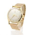 Vintage Omega 2635 Automatic Bumper 14 Karat Gold Bezel Gold Tone Mesh Band Watch 351