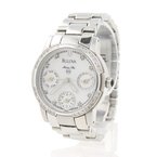 Bulova Women's Stainless Steel White Face Diamond Bezel Watch 96R45