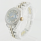 Ladies Rolex Date-Just TwoTone SS 18K Yellow Gold Diamond Bezel Dial Watch 30074