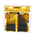 DeWalt DWA1184 Drill Bit Set Wood Metal Plastic Fiberglass Black Oxide 14 Piece Brand New
