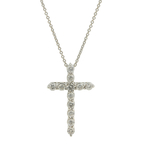 Classic Estate 14K White Gold Diamond Cross Pendant & Necklace Set - 0.84CTW