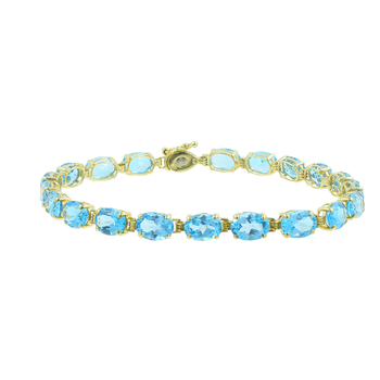 Ladies Vintage Classic Estate 10K Yellow Gold Blue Gemstones Bracelet