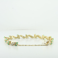 Ladies Custom Design Link Double Lock Emerald & Diamond 14K Yellow Gold Bracelet