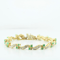 Ladies Custom Design Link Double Lock Emerald & Diamond 14K Yellow Gold Bracelet