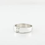 Mens Diamond Emerald Cut Diamond Accent Wedding Band in 14K White Gold Ring