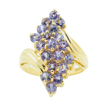 Ladies Classic Estate 10K Yellow Gold Iolite Gemstone Bypass Cocktail Ring