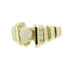 Vintage Classic Estate Ladies 10K Yellow Gold Opal Pear Cut Diamond Ring