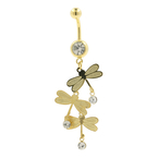 Gold Plated Naval Belly Rings 3 Dragon Fly CZ  Dangling White Stones Fashion Jewelry