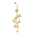 Gold Plated Navel Belly Rings 3 Dragon Fly CZ  Dangling White Stones Fashion Jewelry