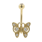 Gold Plated Navel Belly Butterfly-Shaped Ring White Glass Stones Fashion Jewelry