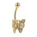 Gold Plated Naval Belly Butterfly-Shaped Ring White Glass Stones Fashion Jewelry