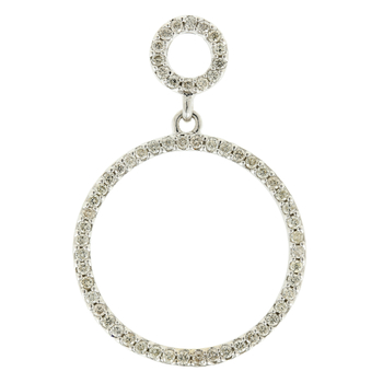 Ladies Vintage Classic Estate 14K White Gold Diamond Eternity Circle Pendant