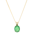 "Classic Vintage 14K Yellow Gold Green Oval Cut Gemstone 18"" Mariner Chain"