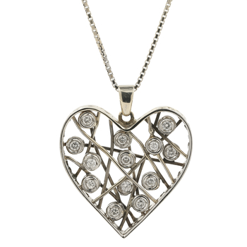 Ladies Vintage Estate 14K White Gold Diamond Heart-Shaped Pendant & Chain Necklace - 1.30CTW