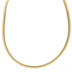 Ladies Classic Estate 14K Yellow Gold Flat Omega Chain Necklace - 18 inch