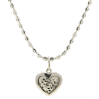 Ladies Classic 18K White Gold Heart-Shaped Pendant & Chain Necklace Jewelry Set