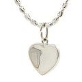 Ladies Classic Estate 18K White Gold Heart-Shaped Charm Pendant & Chain Necklace Jewelry Set