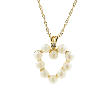 """Classic Estate Ladies 14K Yellow Gold Pearl Heart Pendant 18"""" Chain Necklace"""