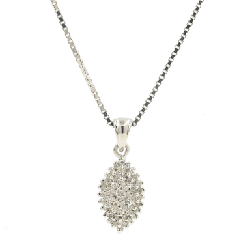 Ladies Vintage Estate 14K White Gold Diamond Pendant & Box Chain Necklace - 0.54CTW