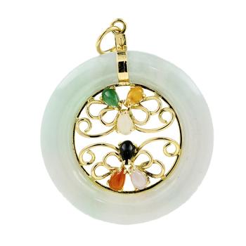 Ladies Vintage Estate 14K Yellow Gold Jade Onyx Round Floral Eternity Pendant