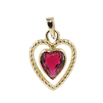 Ladies Estate 14K Yellow Gold Red Zirconia Gemstone Heart-Shaped Pendant