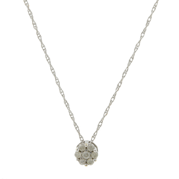 Ladies Estate 14K White Gold Diamond Rosette Cluster Pendant & Trace Chain Set