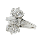 Ladies Vintage Estate Platinum 10% IRID Floral Design Diamond Cocktail Ring - 0.42CTW