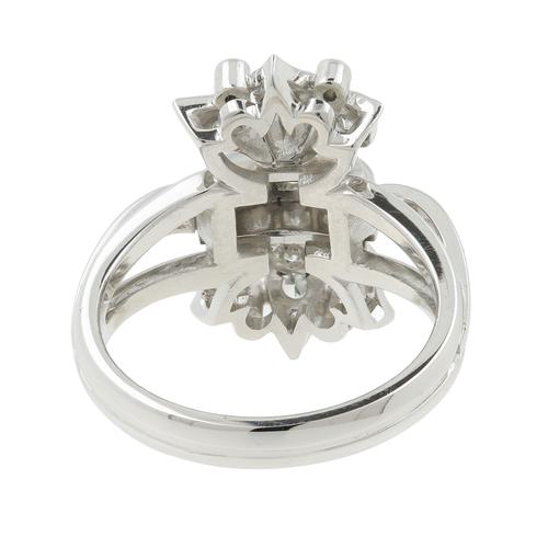Ladies Vintage Estate Platinum 10% IRID Floral Design Diamond Cocktail Ring - 0.42CTW