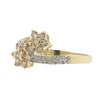 Ladies Classic 14K Yellow Gold Champagne Diamond Rosita Bypass Promise Ring