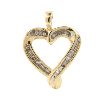 Ladies Vintage Classic Estate 10K Yellow Gold Diamond Open Heart Pendant - 20MM