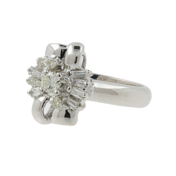 Ladies Modern 14K White Gold Round & Baguette Cut Diamond Cluster Ring - 0.40CTW
