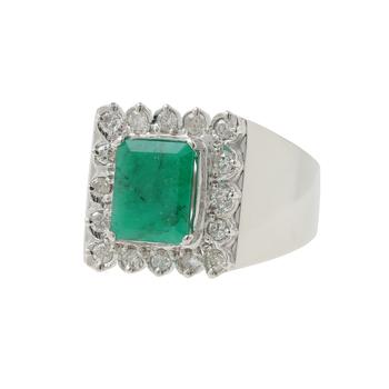 Ladies Men's Estate 8K White Gold Green Jade Gemstone & Diamond Signet Ring