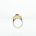 Ladies Royal 2.35 Carat Oval Ruby W/ Round & Baguette Diamonds Yellow Gold Ring