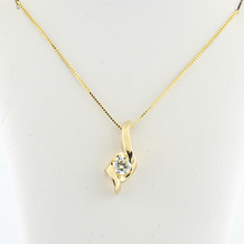 Modern 14K Yellow Gold Box Chain Necklace & Diamond Pendant Charm Jewelry Set
