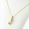 Modern 14K Yellow Gold Box Chain Necklace & Diamond Pendant Charm Jewelry Set