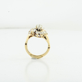 Vintage Marquee Baguette Pear & Round Diamond Cut Ladies Bridle Yellow Gold Ring
