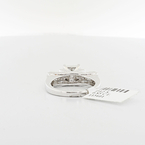 Three Tier Cathedral 0.85CTW Princes Cut Composite 14K White Gold Diamond Ring
