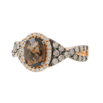 Ladies LeVian 14K Rose Gold Brown Quartz & White, Champagne Diamond Ring