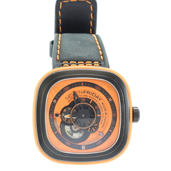 SevenFriday Industrial Essence Orange Dial Audtiomatic Mens Watch P1-3