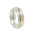Ladies Mens Estate 925 Silver & 14K Yellow Gold Signed M.M Rogers Ring Band