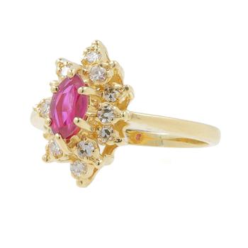 Ladies Classic Estate 10K Yellow Gold Red Spinel Gemstone & Diamond Halo Ring