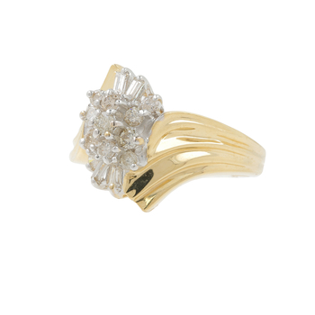 Ladies Vintage Estate 10K Yellow Gold Diamond Cluster Bypass Cocktail Ring - 0.59CTW