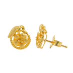 22K Yellow Gold Flower-Shaped Push Back Floral Earrings