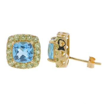 Ladies Vintage Estate 10K Yellow Gold Blue Zircon & Green Glass Stone Halo Earrings