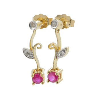 Ladies Vintage Estate 14K Yellow Gold Red Spinel Diamond Drop Push Back Floral Earring